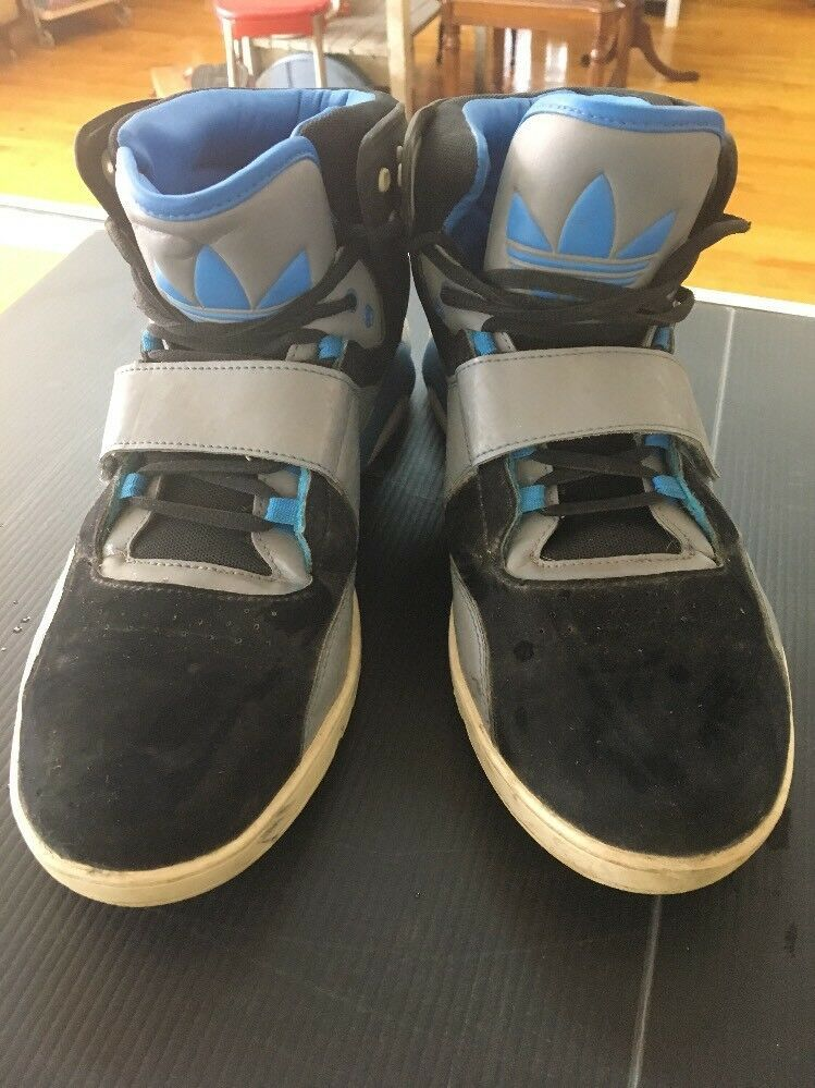 MEN'S ADIDAS ROUNDHOUSE MID Black Blue Gray Leather Trainers G59829 Size 11 D95 image 2