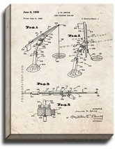 Ice Fishing Tip-up Patent Print Old Look on Canvas - $39.95+