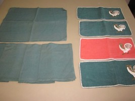 9 pc Lot Vintage Rooster Stitched Dark Green Bar and COCKTAIL Napkins 5x... - $3.99
