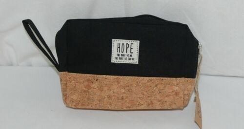 TPO Brand MP0005BK Hope Tan Cork & Black Canvas Zipper Travel Makeup Pouch Bag