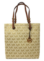 Michael Kors Jet Set Signature North South Tote in Beige, Camel & Luggage - NWT - $119.95
