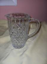 Vintage Pressed Glass Diamond Pattern Pitcher - $54.45