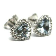 18K WHITE GOLD LOVE HEART EARRINGS AQUAMARINE WITH DIAMONDS FRAME, DIAMETER 9 MM image 4