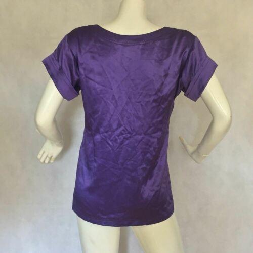 DVF Diane Von Furstenberg Purple top blouse 100% silk size 0 Career work image 5