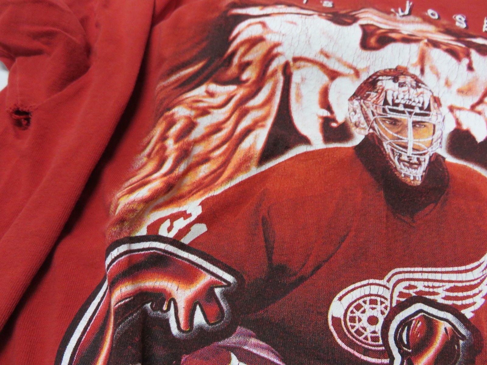 NHL Curtis Joseph Detroit Red Wings Graphic Hockey Red T-Shirt Men's Size  image 8