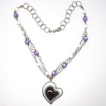 925 Silber Halskette, Amethyst, Achat Weiß, Herz Anhänger, Kette Zwei Reihen image 2