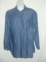 J Jill Denim Chambray Tunic Shirt Top Blouse Womens XL Blue Tencel Long ... - $46.46