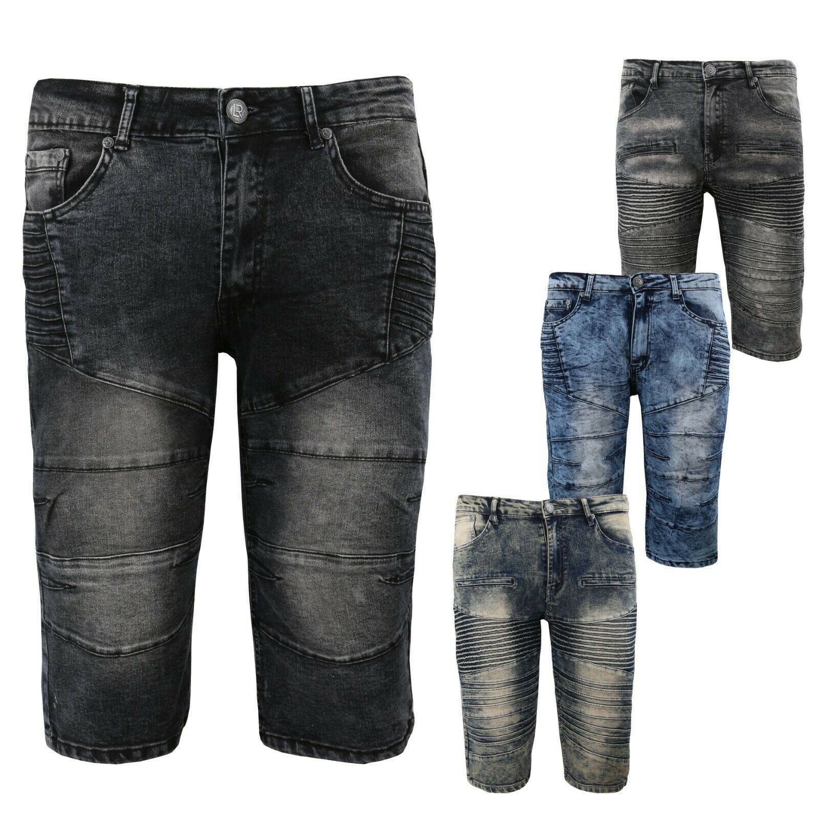 LR Scoop Men's Distressed Denim Fade Wash Slim Fit Moto Skinny Jean Shorts