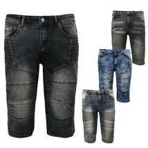 LR Scoop Men's Distressed Denim Fade Wash Slim Fit Moto Skinny Jean Shorts image 1