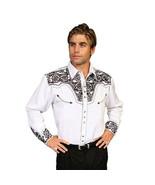 Men's Western Shirt Long Sleeve Rockabilly Country Cowboy White Black - $87.38