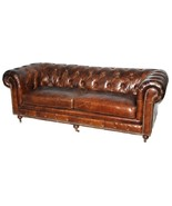 "84"" Sofa Restoration Style Vintage Cigar Top Grain Leather Tufted Cheste... - $2,975.05"