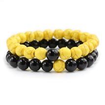 2 Pcs/set Couple Distance Colorful Beads Bracelet Natural Stone Strand Yoga Brac - $14.53