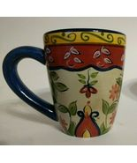 Retired Pier 1 Hand Painted Vallarta Mug Earthenware Blue Red Yellow Floral - $18.25