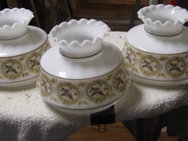 SET/ LOT 3 VTG WHITE MILK GLASS HURRICANE LAMP SHADE-RUFFLE/CRIMP TOP  F... - $68.31