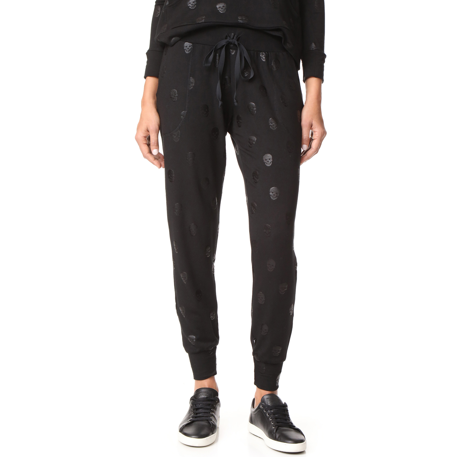 Terez Women Black Foil Skull French Terry Jogger