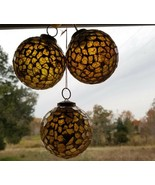 Vintage Christmas Glass Mosaic Christmas Tree Ornament Gold Colored Set ... - $14.45