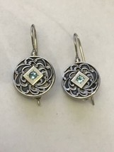 Jewelry Sterling 925 Silver Circle Turquoise Blue Gem Earnings AAB1-007 - $421,93 MXN