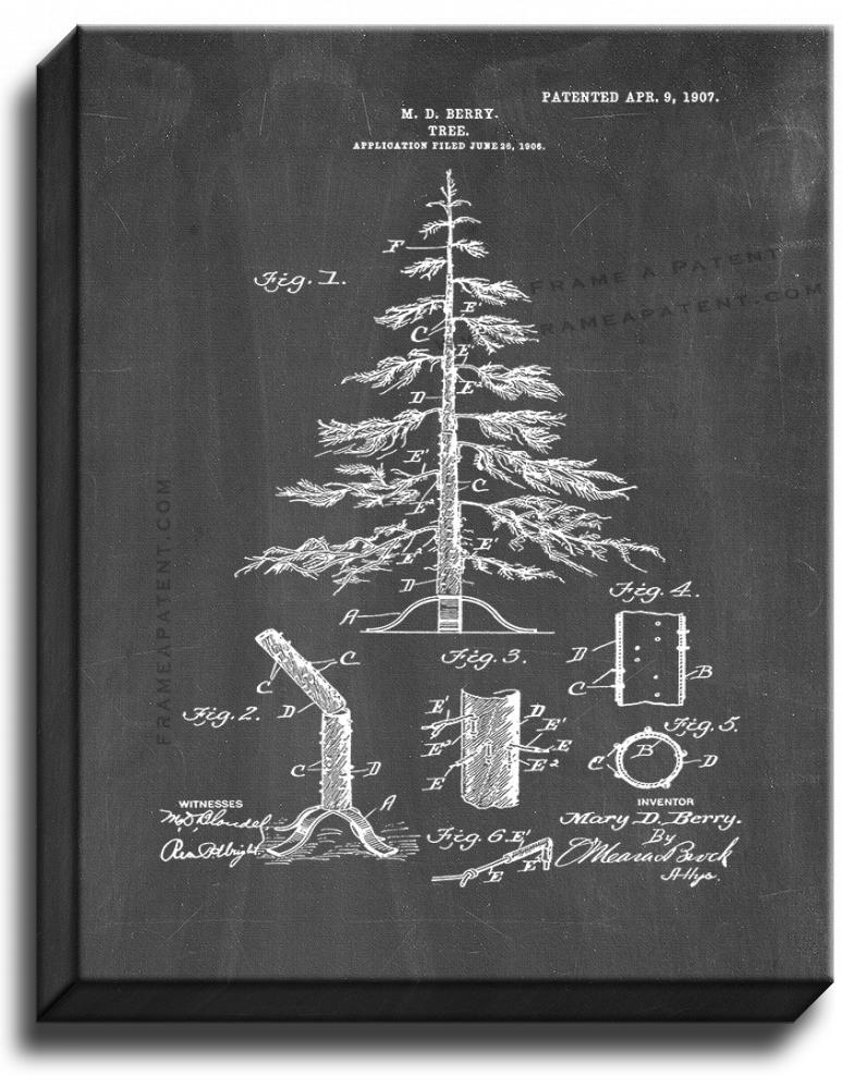 Primary image for Christmas Tree Patent Print Chalkboard on Canvas