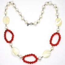 Collar Plata 925 , Círculos Coral, Nácar Ovalados y Perlas Blancas image 2