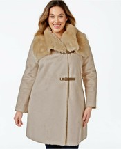 new CALVIN KLEIN Faux-shearling Buckled Wrap Coat PLUS SIZE women's OX X... - $148.40