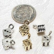 DIE FINE PEWTER PENDANT CHARM - 5x11.5x5mm (Singular of Dice) image 2