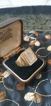 Antique Vintage 1980-s Poker Signet Ring Sterling Silver Gold Plated- Hallmarked - $98.01