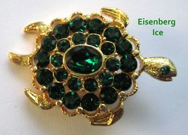 Eisenberg Ice Green Rhinestone Turtle Pin Brooch Mint - $34.95
