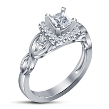 White Gold Plated Pure 925 Silver Princess Cut Diamond Women's Engagemen... - $74.99