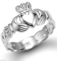 Ladies White Gold Claddagh Ring with Celtic Band 10k 14k - $149.99+