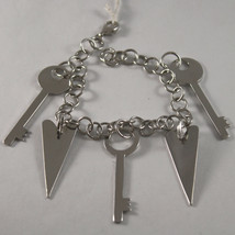.925 RHODIUM SILVER BRACELET WITH KEYS AND HEARTS PENDANT image 1