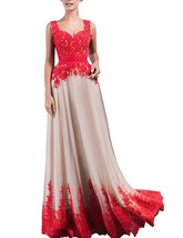 Women's 2018 Lace Prom Gown Elegant Evening Dresses Red Long Formal Party Dress - $108.99