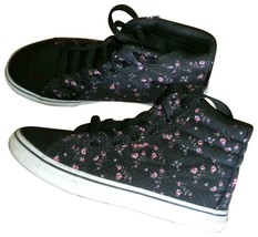Fila Size 5 Black Pink Floral Ankle Lace Women Tennis Shoes Sneakers - $13.17