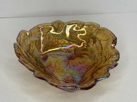 Vtg Candy Dish Loganberry Marigold Amber Carnival Glass Indiana Grape & ... - $7.91