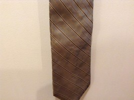 Nautica Green w Gold Tan Brown Stripes Silk Neck Tie