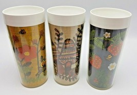 Thermo Serv Embroidered Mushroom Strawberry Flower Cups Lot 3 Tumblers USA - $14.85