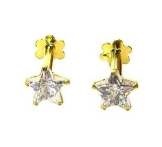 Star Shape White CZ Nose Ear Studs PAIR 14k Solid Real Gold Screw Back PAIR - $47.50