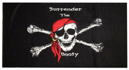 Jolly Roger Pirate Surrender the Booty 30 x 60 Beach Towel (Cotton Twill) - $21.88
