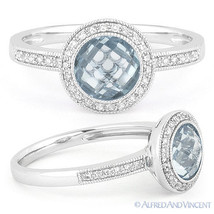 1.96 ct Blue Topaz Gem Diamond Pave Engagement Ring 14k White Gold Halo ... - €453,90 EUR