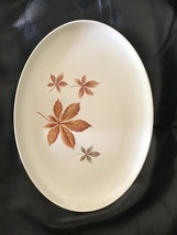 """Taylor, Smith & Taylor (TS&T) Random Leaves Oval Serving Platter 13.5 X 10"""" - $15.00"""