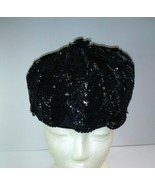 Women's Vintage Le Charme Creations Hat Black Sequins Made USA - $29.70