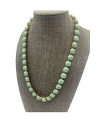 """Banana Republic Sage Mint Green Beaded Necklace Gold Tone Prong 17-19"""" A16 - $20.53"""