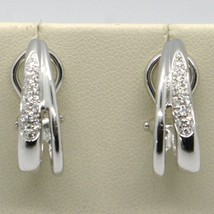 SOLID 18K WHITE GOLD PENDANT DROP HOOPS EARRINGS WITH DIAMONDS, CLIPS CLOSURE image 2