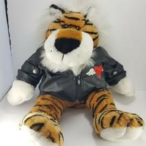 """Dan Dee Plush Striped Lion in Biker Jacket Turtle Neck Sweater 18"""" Large... - $24.74"""