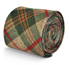 Courier & Frederick Thomas mens wool tweed tie green, brown & red check FT3144