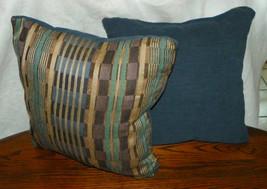 Pair of Blue Stripe Abstract Print Throw Pillows  17 x 17 - $49.95