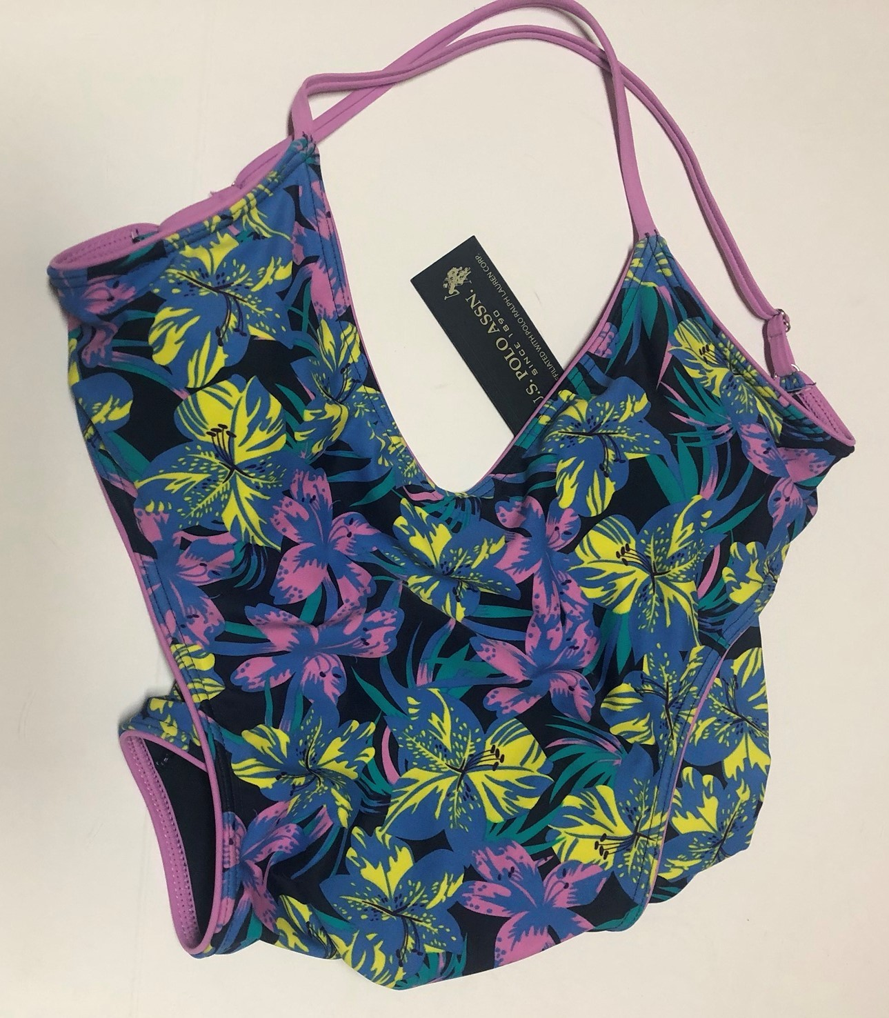 U.S. Polo One Piece Swimsuit Floral Open Back Sz M image 5