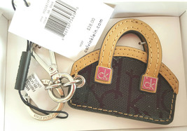 Calvin Klein Black and Tan Leather Bag Keychain/Clip NWT and Box - $23.99