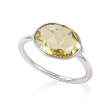 Natural Faceted lemon Quartz 925 Sterling Silver Statement Ring  Handmad... - $19.97