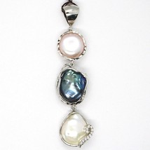 925 ARGENT STERLING,TROIS PERLES STYLE BAROQUE,NOIR,ROSE,ZIRCONIA,MADE IN ITALY image 1