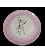 Pink Poodle Dog Art Lunchen Plate Lady Poodle Comic Design #4 Black Gold... - $19.95